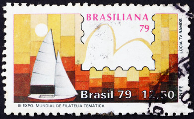 Postage stamp Brazil 1979 Snipe Class, Yachts and Stamps