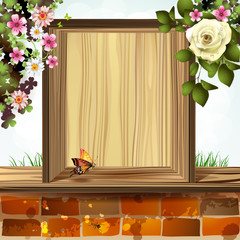 Window frame with flowers