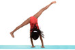 Young black girl doing gymnastics cartwheel motion blur