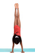 young girl doing gymnastics handstand