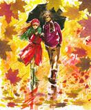 Autumn walk-watercolors