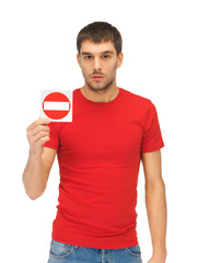 man holding no entry sign