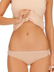 woman body in beige cotton undrewear