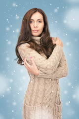 beautiful woman in wool dress