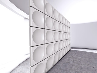 Abstract indoor futuristic indoor with acoustic wall