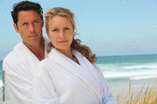Husband and wife on beach