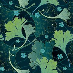 Seamless decorative background with ginkgo biloba