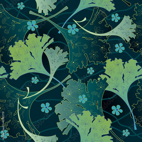 Seamless decorative background with ginkgo biloba © Artanika