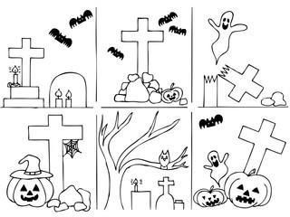 Halloween big set. Hand drawing vector illustration.