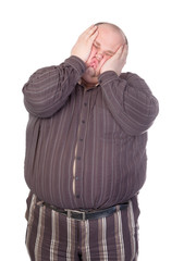 Obese man squashing his face