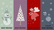 special christmas price tags with angel, snowman, reindeer and c