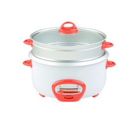 double tray electric steaming pot for cooking food, isolated