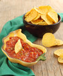 Hot Fresh Salsa with Tomatoes and tortilla chips