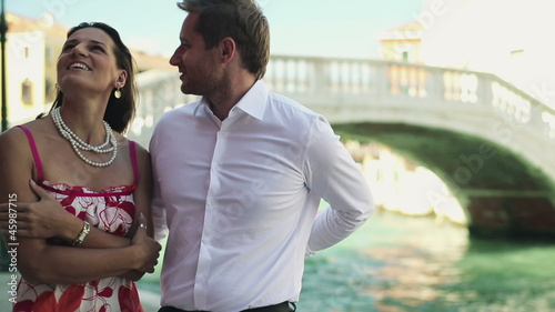 Rich couple getting engaged in Venice
