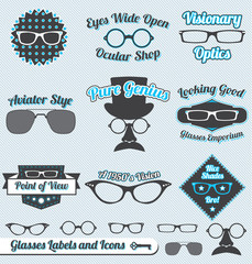 Vector Set: Vintage Glasses Labels and Icons