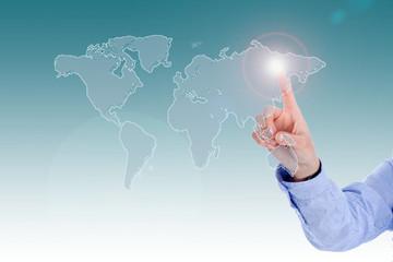 Auswahl einer Region auf der Weltkarte