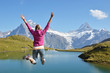 Girl against Alpine scenery. Jungfrau region, Switzerland