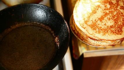 baking pancakes in a frying pan