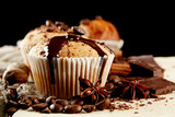 tasty muffin cakes with chocolate, spices and coffee seeds, - 45992760