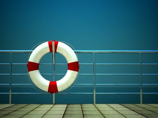 3d life ring and on safety barriers at sea