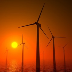 3d wind turbines producing energy in sea