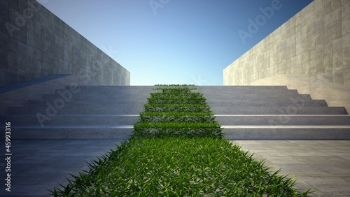 3d ecology concept, grass and stairs on street