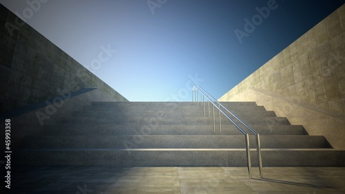 3d street view, stairs to sky