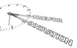 Clock with words Time for innovation, concept of change