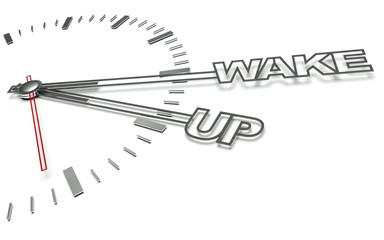 Clock with words Wake up, concept of time