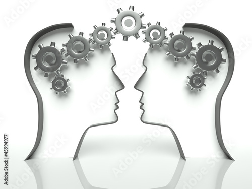 Brains made of gears in heads, concept of teamwork