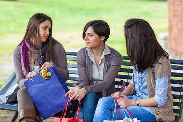 Young Women at Park after Shopping