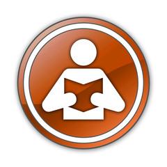 "Orange Glossy Button ""Library / Reader Symbol"""