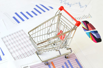 Shopping cart on a financial report
