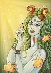Демонесса на Хеллоуин. Иллюстрация