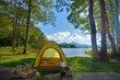 湖畔のテントキャンプ