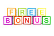 Free bonus on cubes 3d render illustration