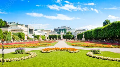 Mirabell Gardens and Hohensalzburg Fortress in Salzburg, Austria