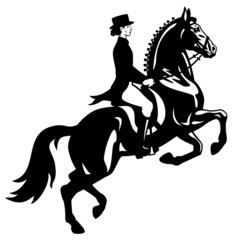 dressage riders monochrome