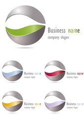Company business logo 3D sphere metal design