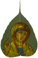 Painting on Peepal Leaf - Madonna Blessing
