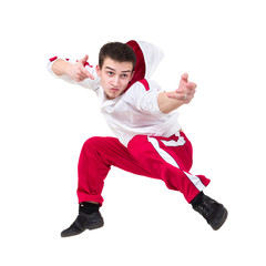Young man dancer jumping