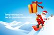 Santa Claus snowboarder mit Geschenk