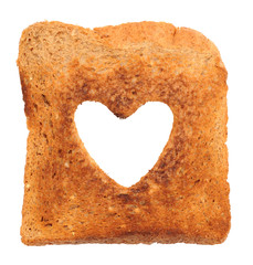 Heart shape in toast
