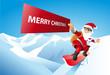 Santa Claus Snowboarder mit Schild