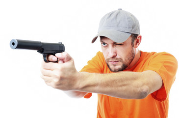 Bearded man with a gun on white background