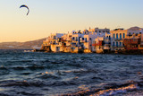 Little Venice neighborhood of Mykonos at sunset, Greece