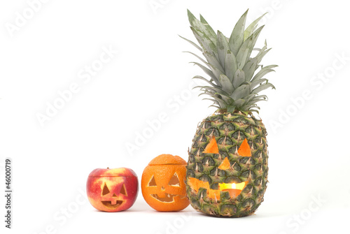 Jack-o-Lanterns made out of Fruits