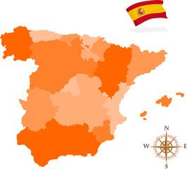 Map of Spain, regions