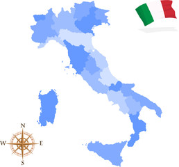 Map of Italy, regions