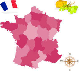 Map of France, regions and departments